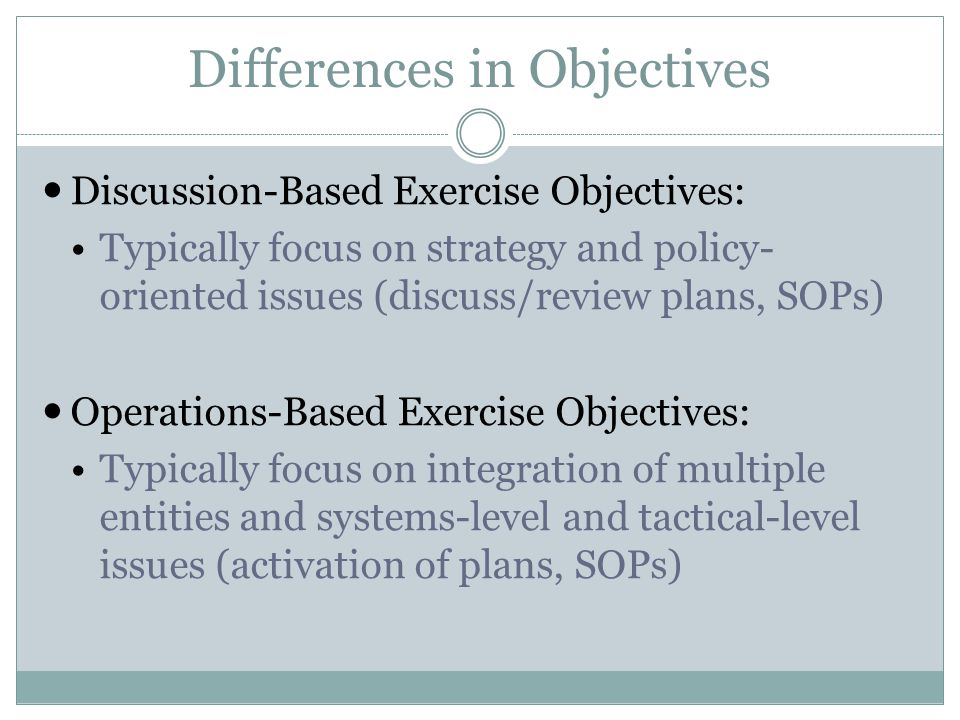 Differences in Objectives