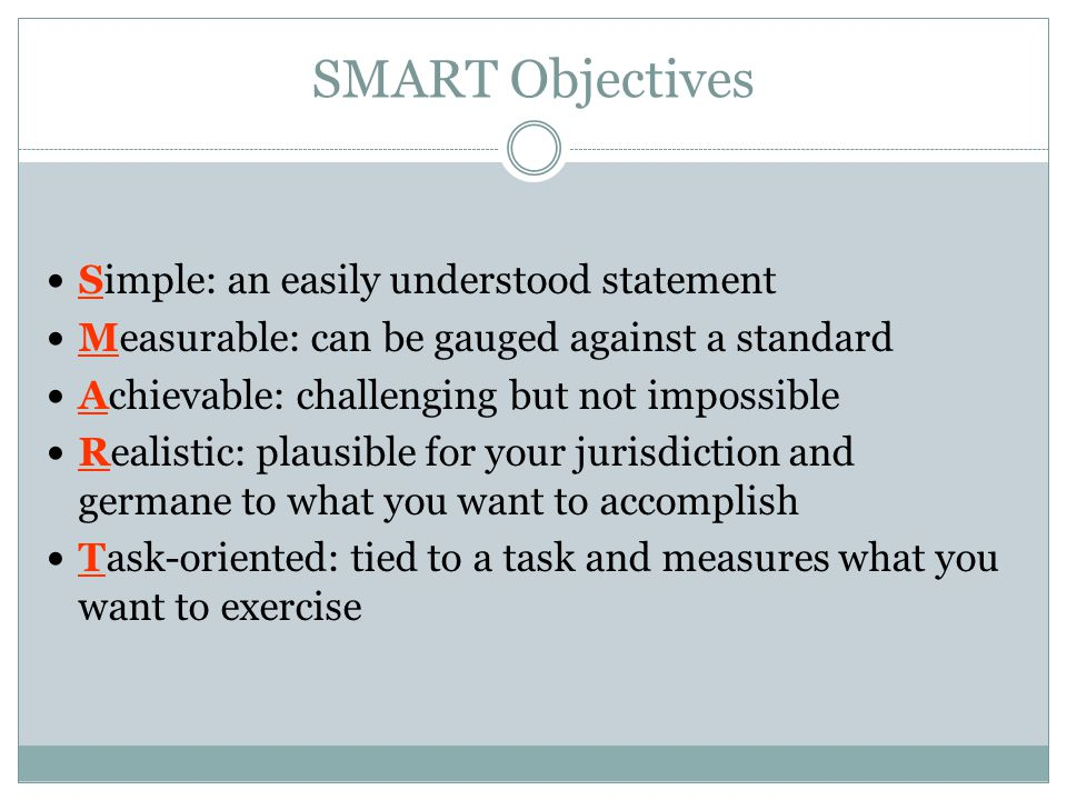 SMART Objectives Simple: an easily understood statement
