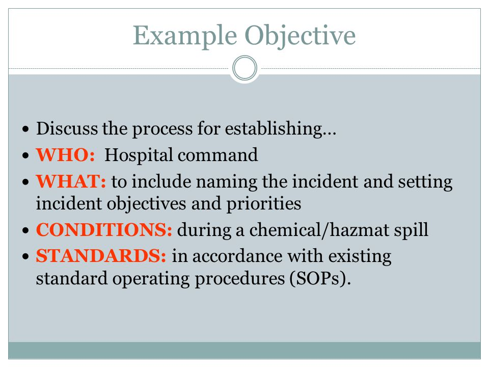 Example Objective Discuss the process for establishing…
