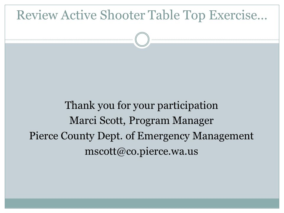 Review Active Shooter Table Top Exercise…
