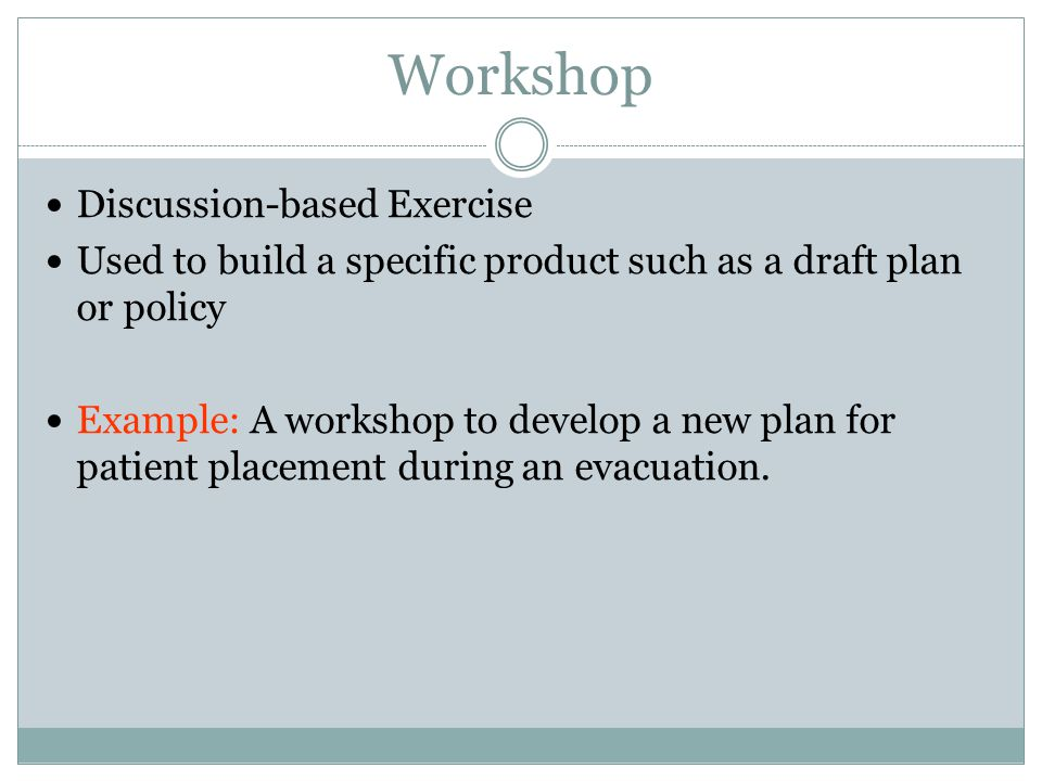 Workshop Discussion-based Exercise