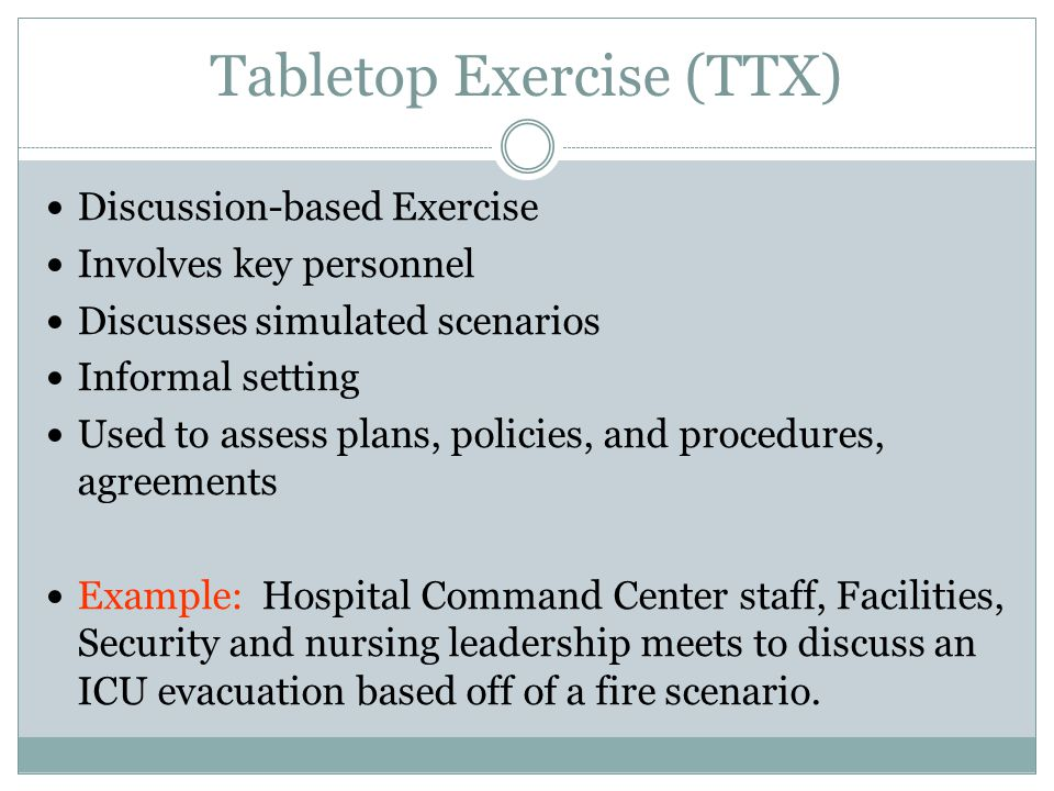 Tabletop Exercise (TTX)