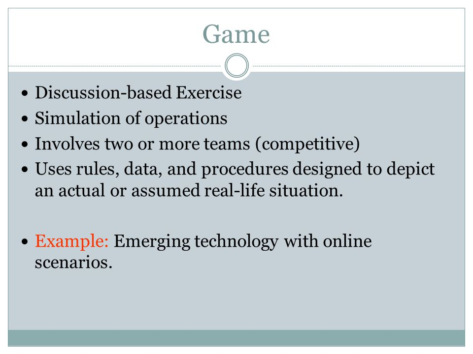 Game Discussion-based Exercise Simulation of operations