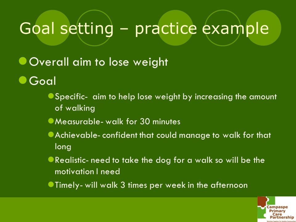 Goal setting – practice example