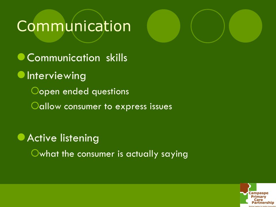 Communication Communication skills Interviewing Active listening