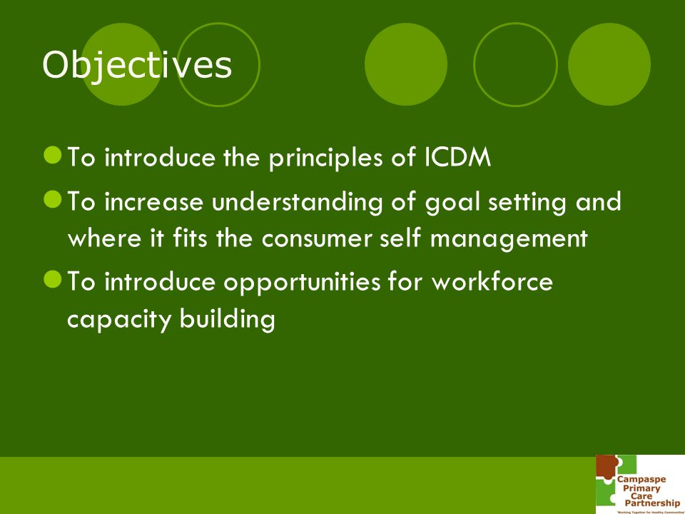 Objectives To introduce the principles of ICDM