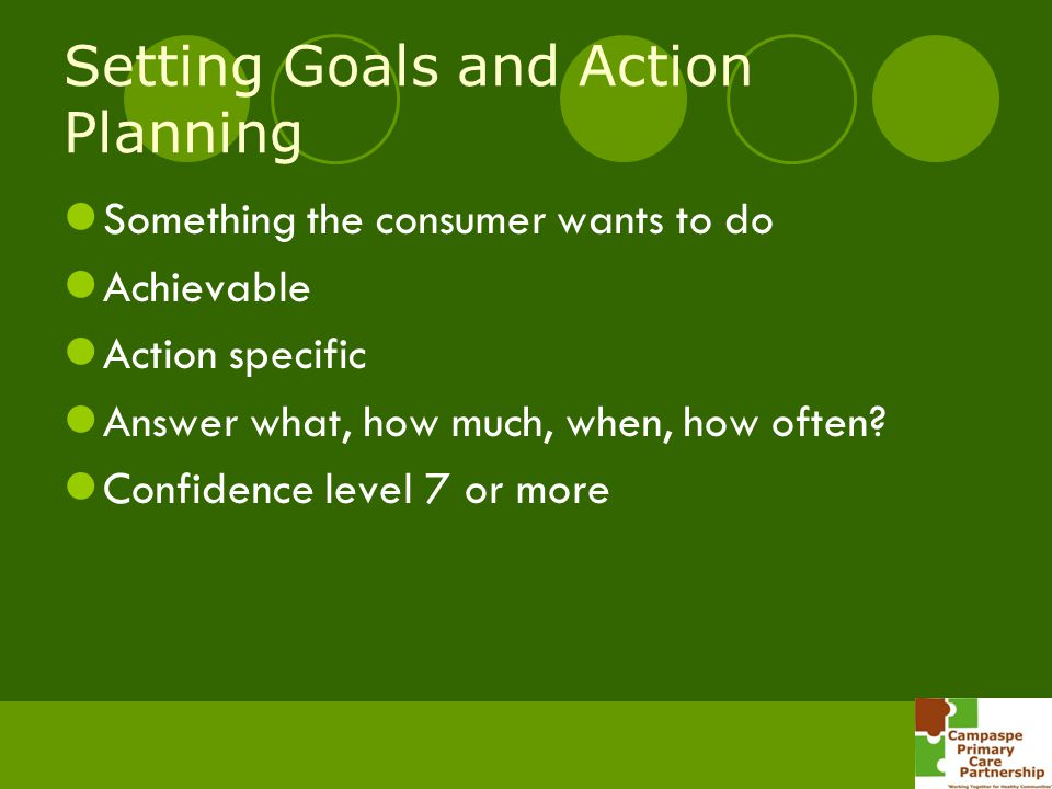 Setting Goals and Action Planning