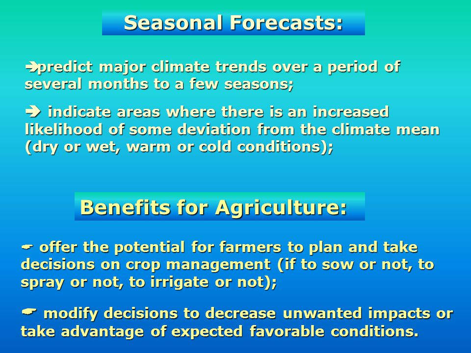 Benefits for Agriculture: