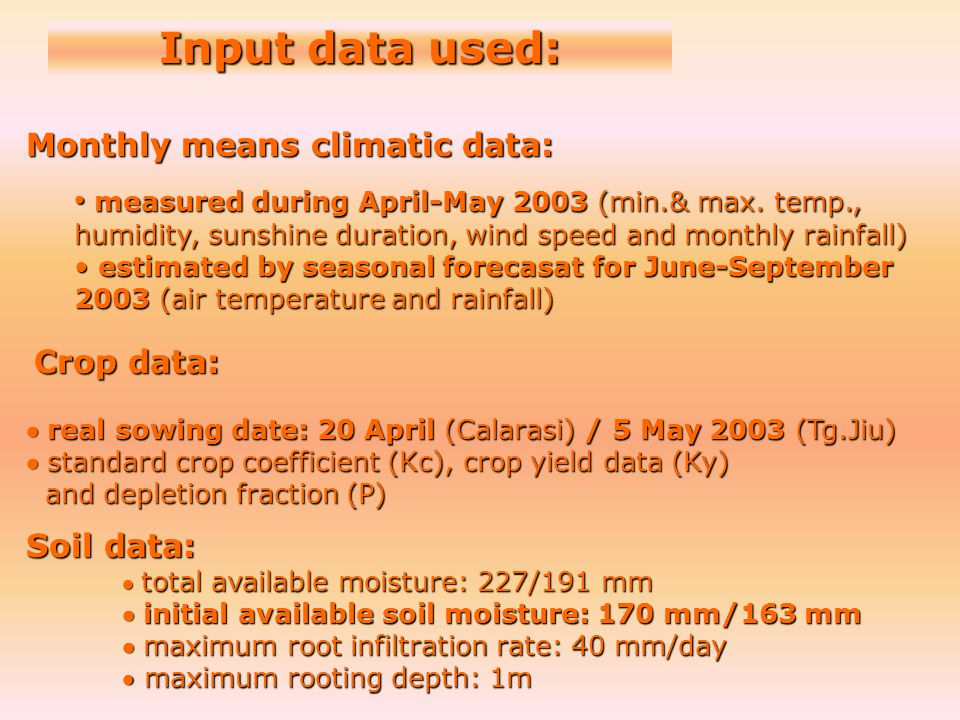 Input data used: Monthly means climatic data: