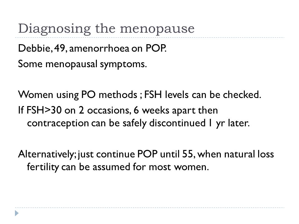 Diagnosing the menopause