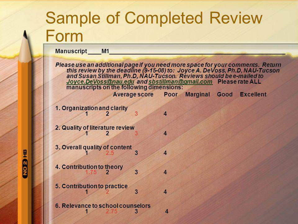 Sample of Completed Review Form