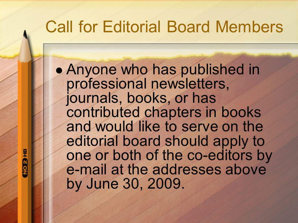 Call for Editorial Board Members