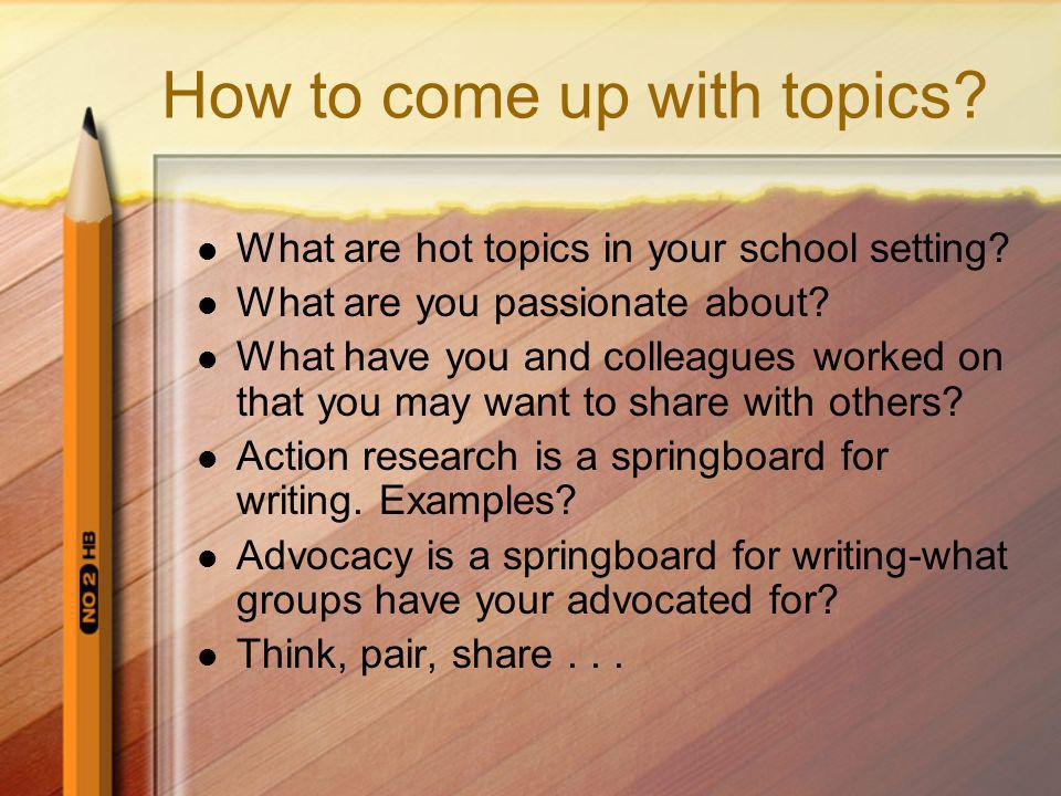 How to come up with topics