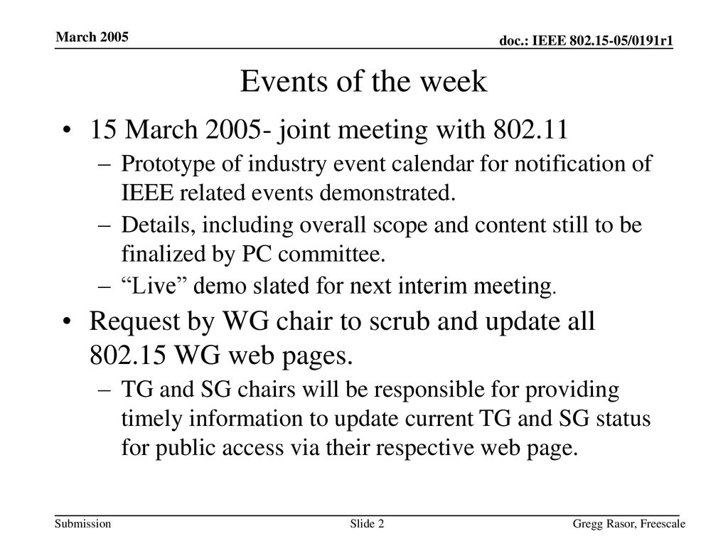 Events of the week 15 March joint meeting with