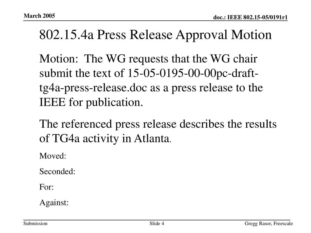 a Press Release Approval Motion