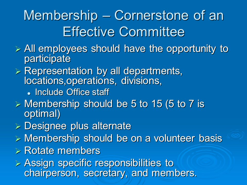 Membership – Cornerstone of an Effective Committee
