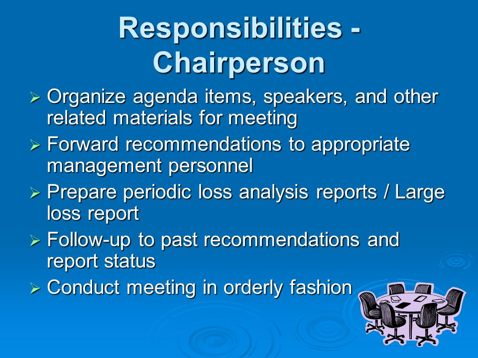 Responsibilities - Chairperson