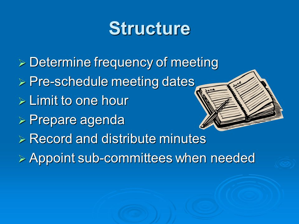 Structure Determine frequency of meeting Pre-schedule meeting dates