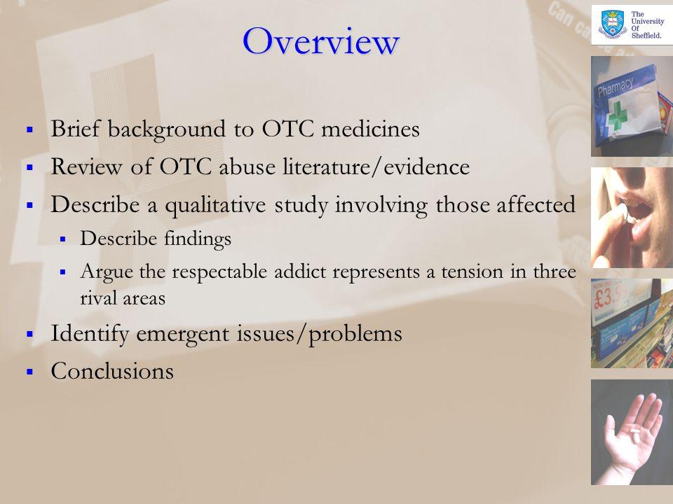 Overview Brief background to OTC medicines