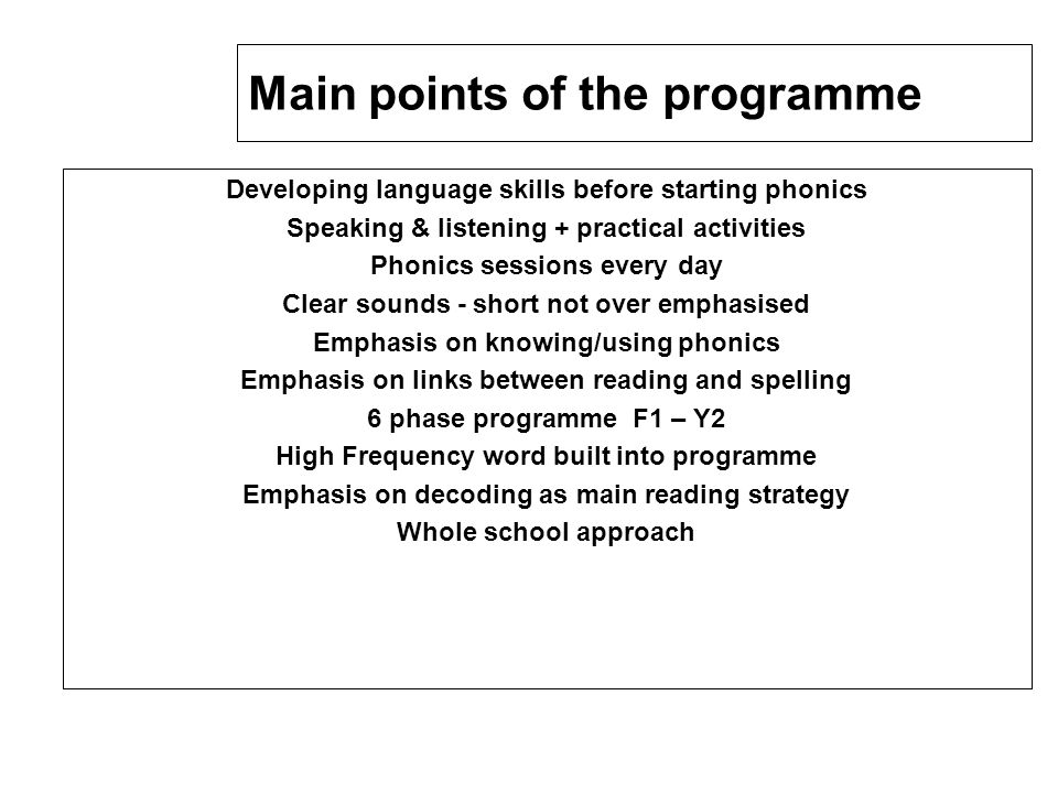 Main points of the programme