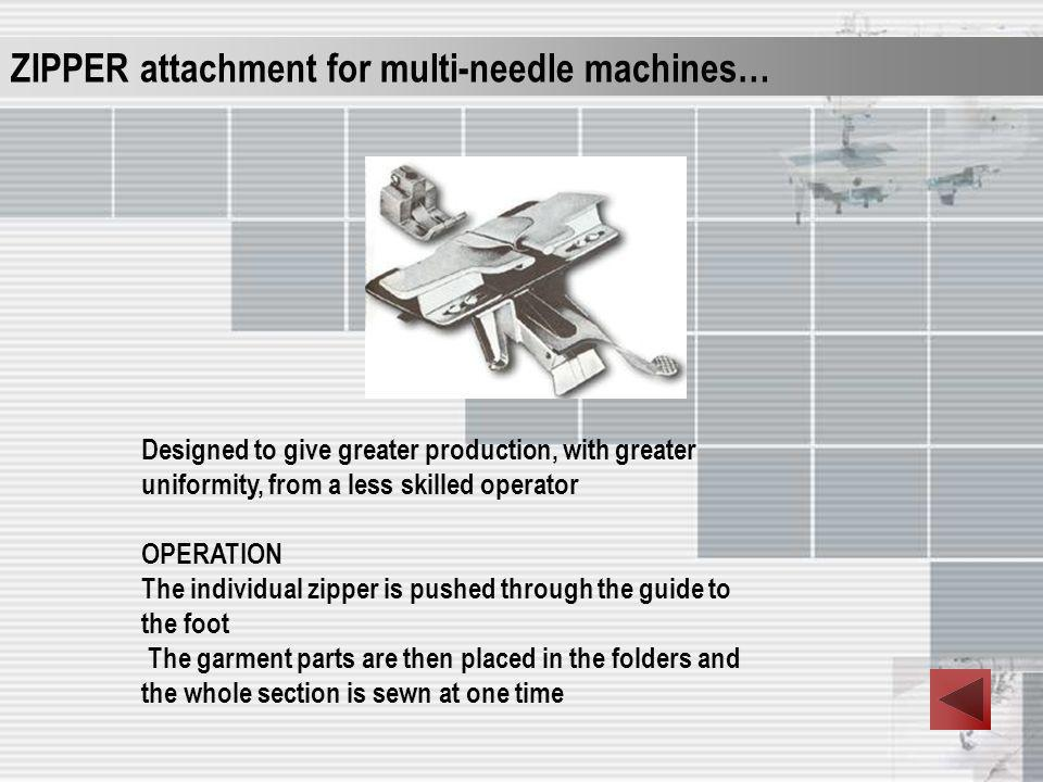 ZIPPER attachment for multi-needle machines…