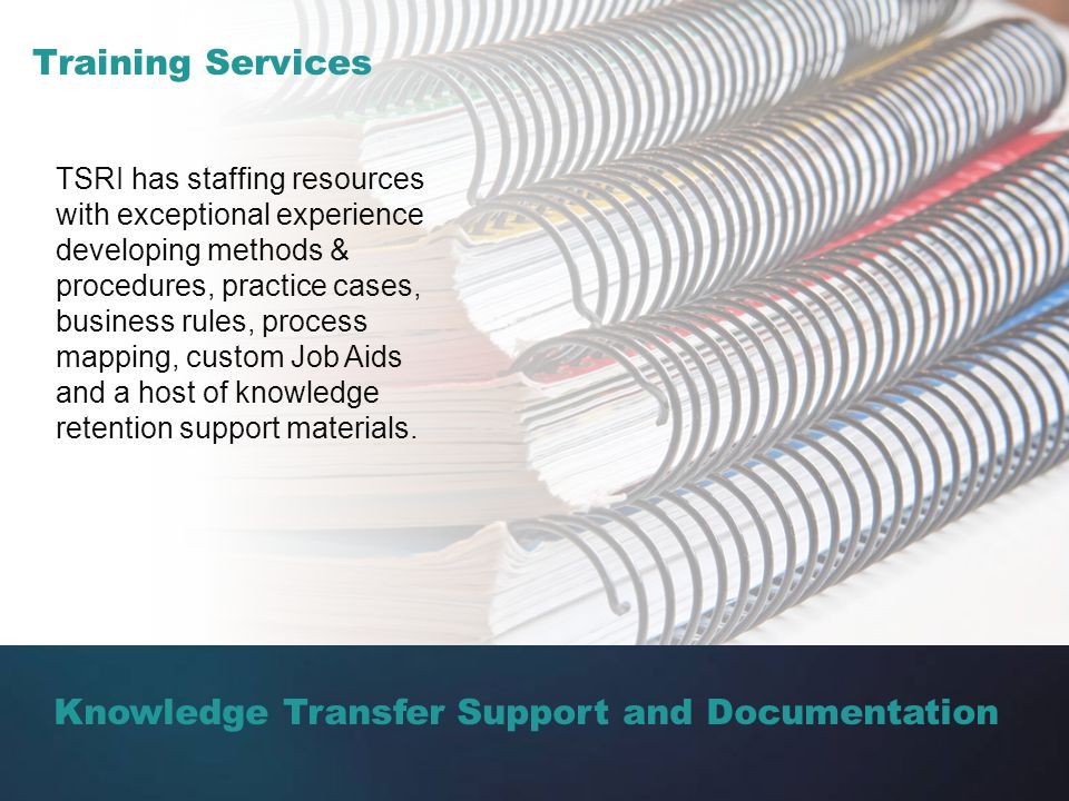 Knowledge Transfer Support and Documentation