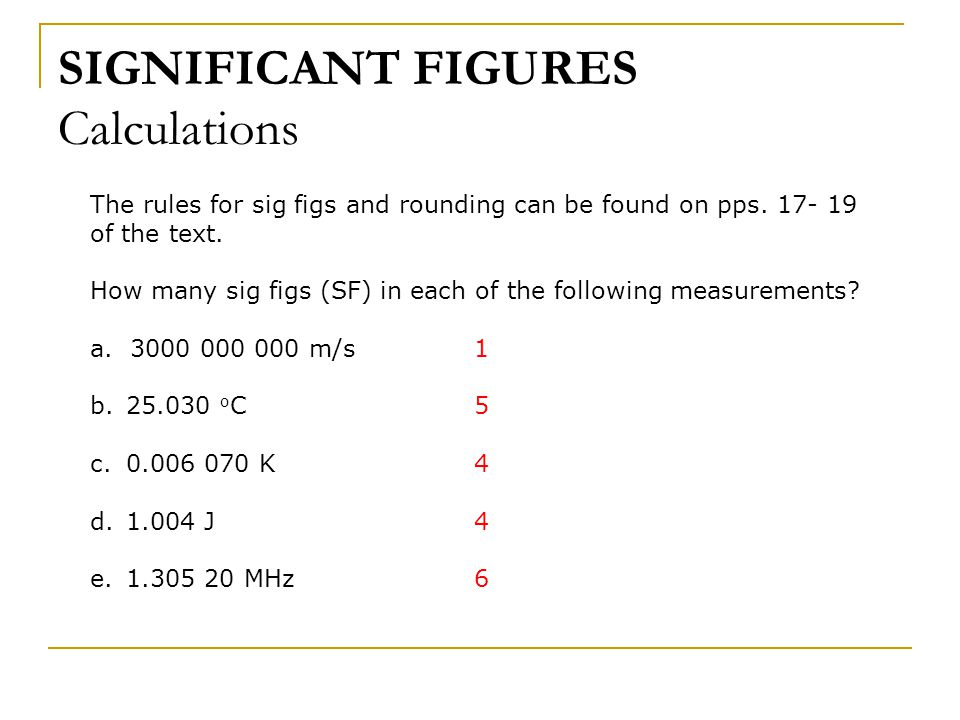 SIGNIFICANT FIGURES Calculations