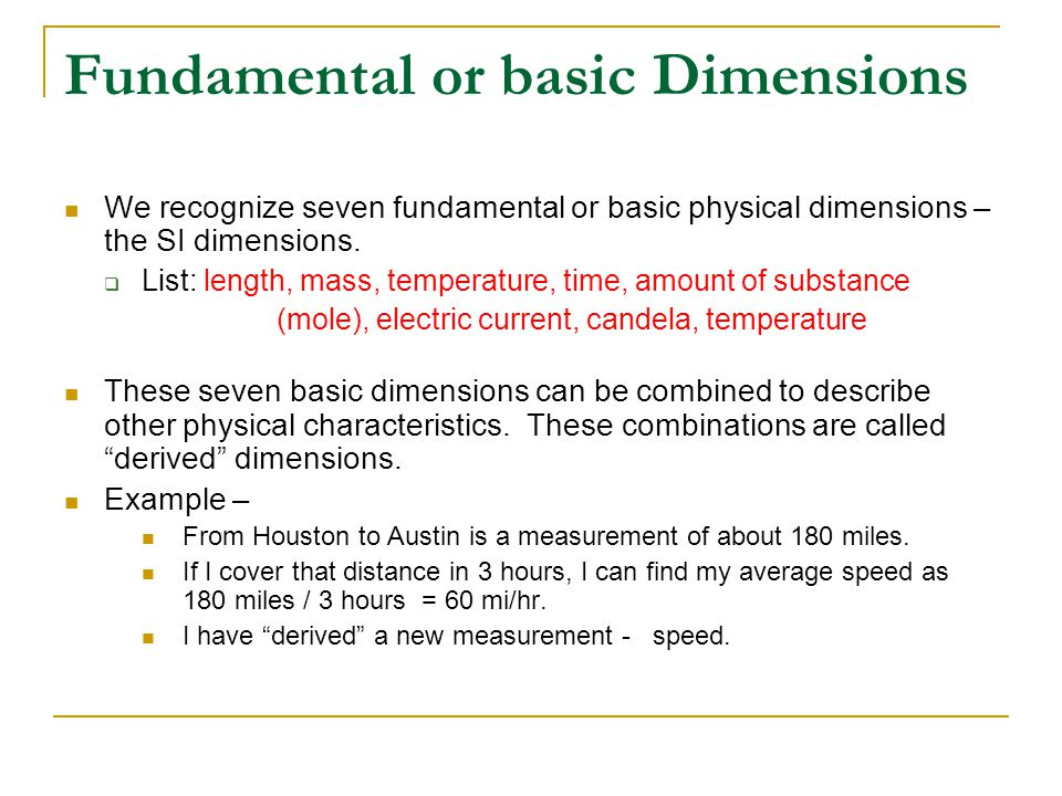 Fundamental or basic Dimensions