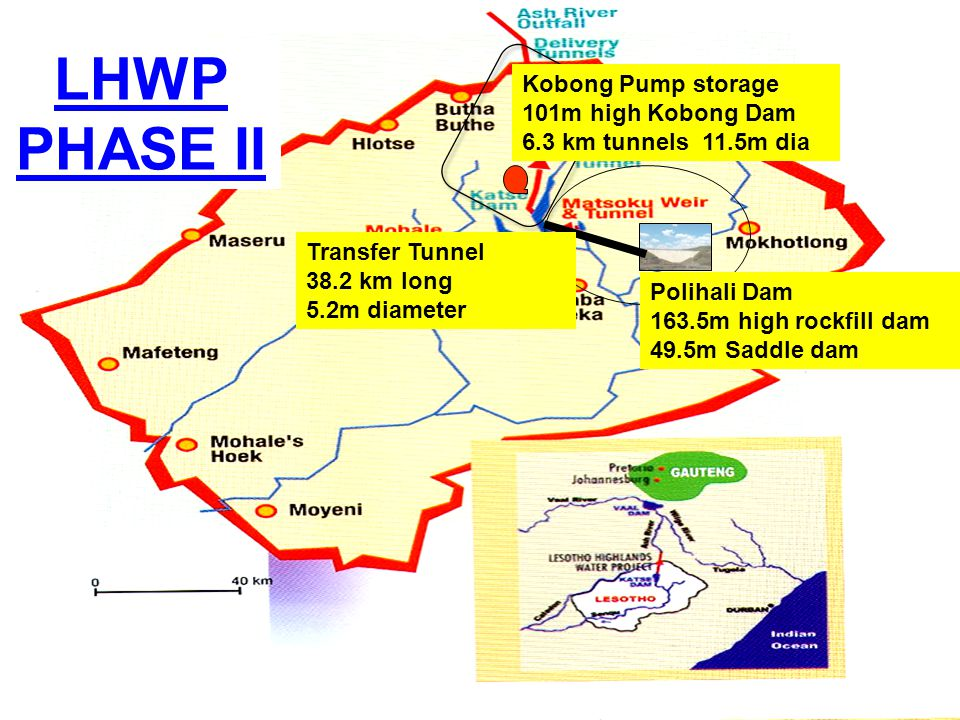 LHWP PHASE II Kobong Pump storage 101m high Kobong Dam