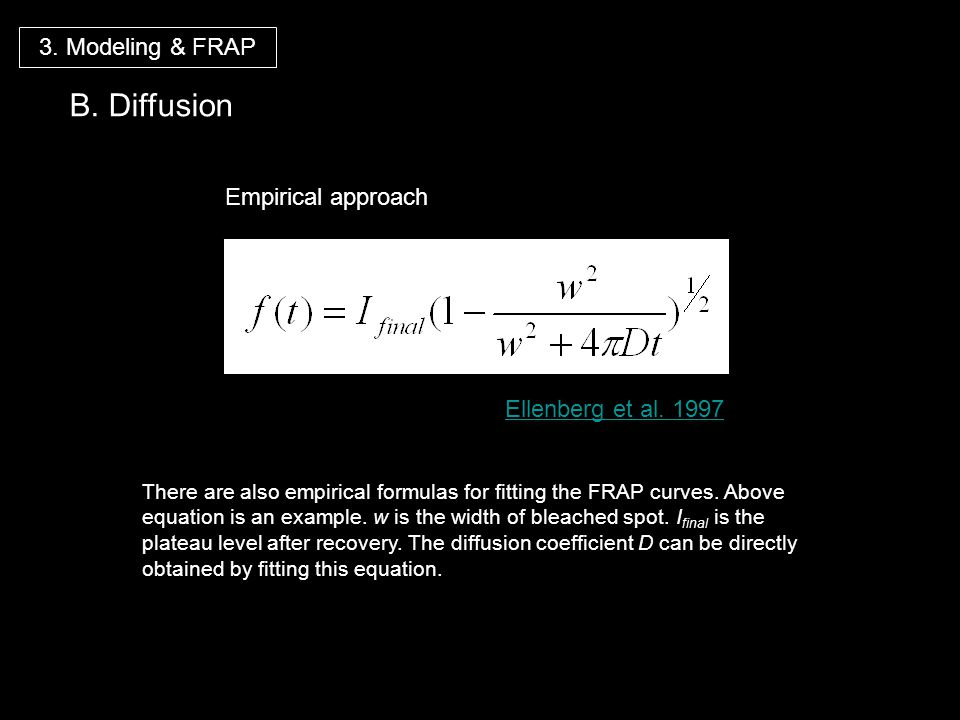 B. Diffusion 3. Modeling & FRAP Empirical approach