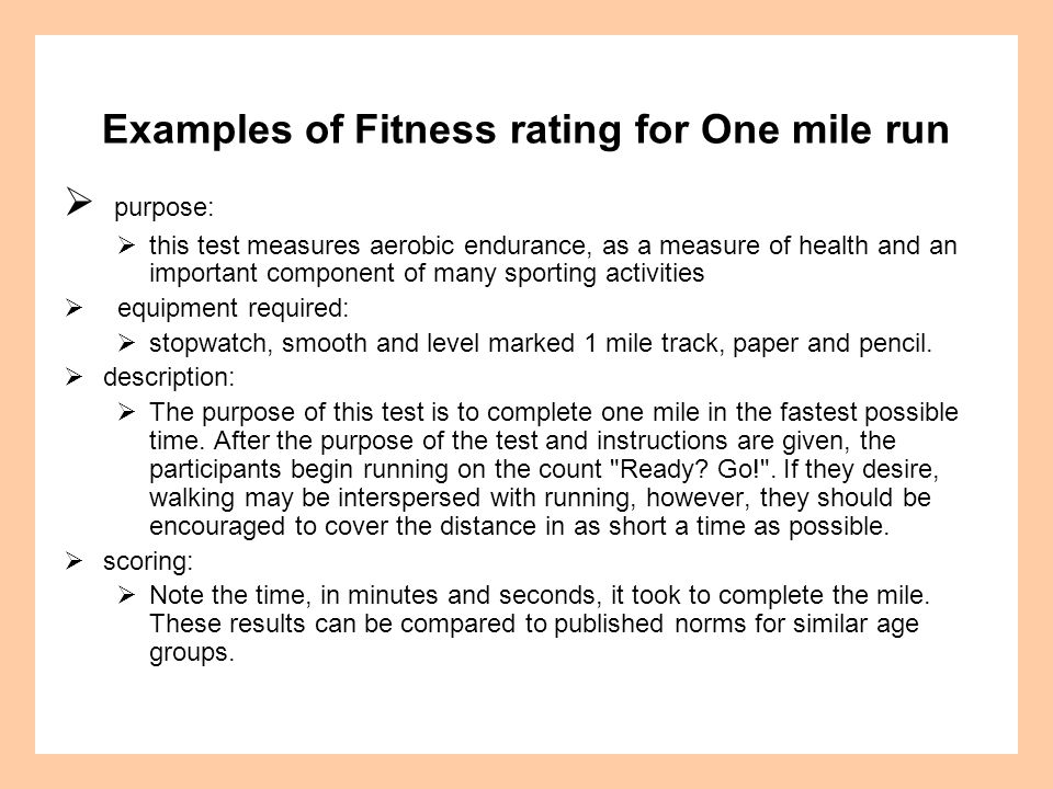 Examples of Fitness rating for One mile run