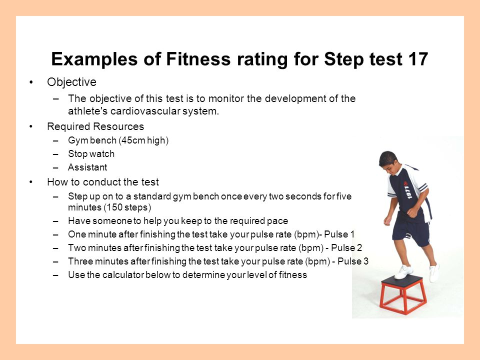 Examples of Fitness rating for Step test 17