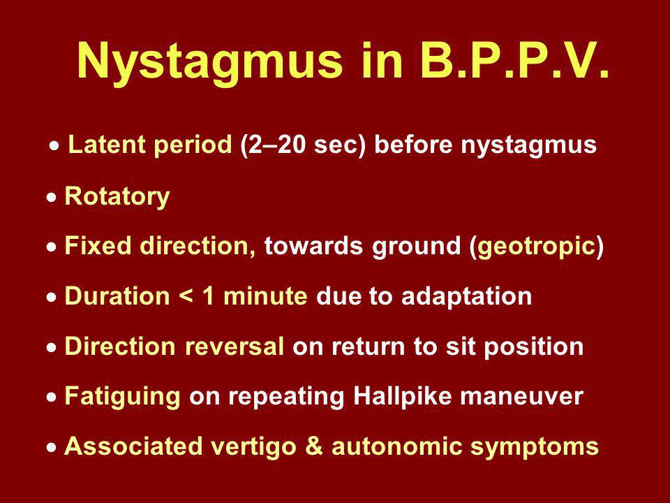 Nystagmus in B.P.P.V.  Latent period (2–20 sec) before nystagmus