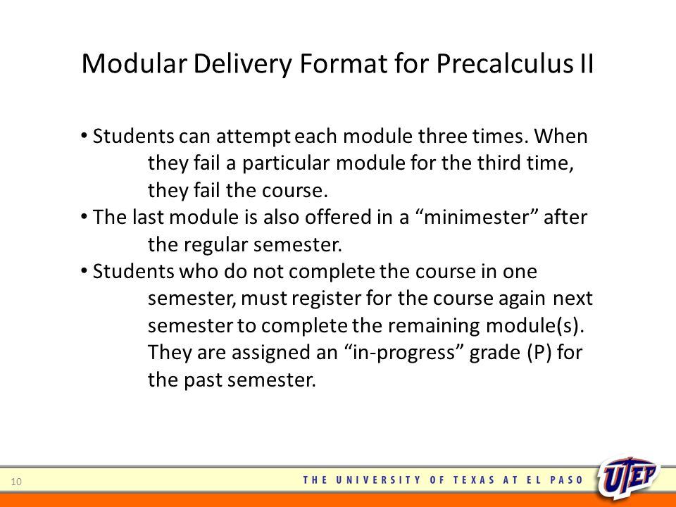 Modular Delivery Format for Precalculus II