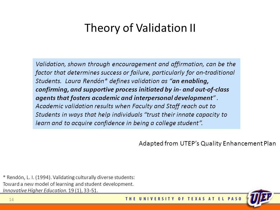 Theory of Validation II