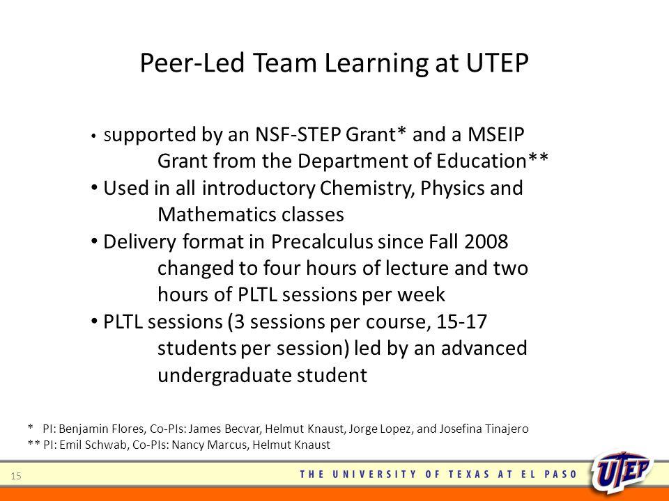 Peer-Led Team Learning at UTEP
