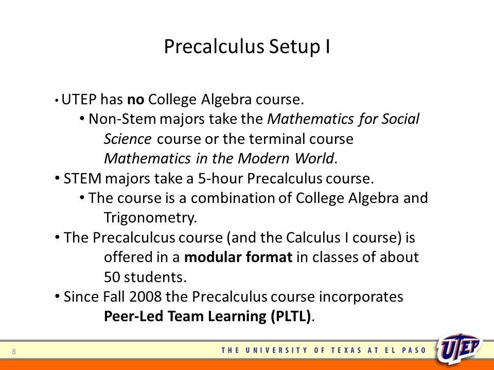 Precalculus Setup I UTEP has no College Algebra course.
