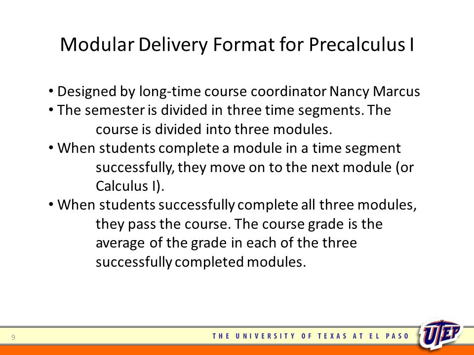 Modular Delivery Format for Precalculus I