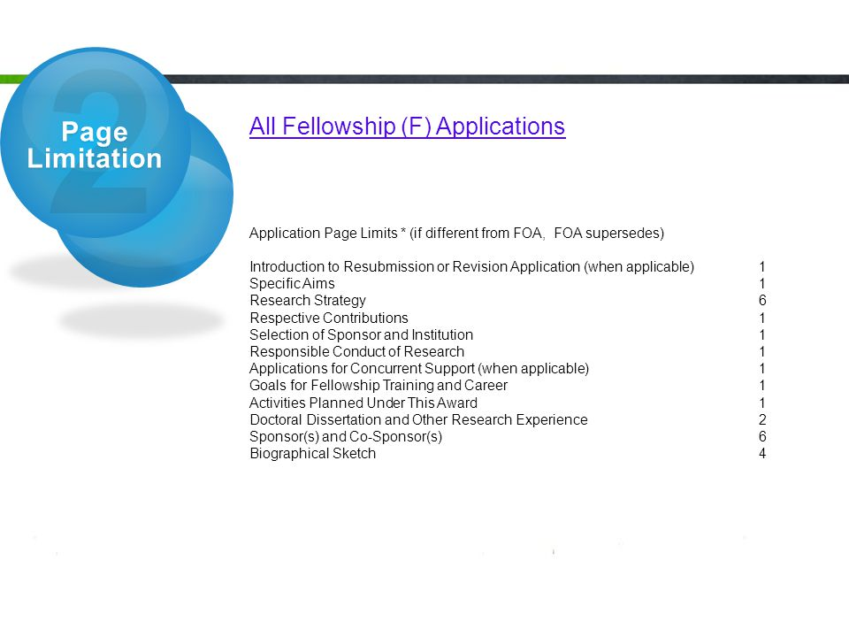 2 Page Limitation All Fellowship (F) Applications