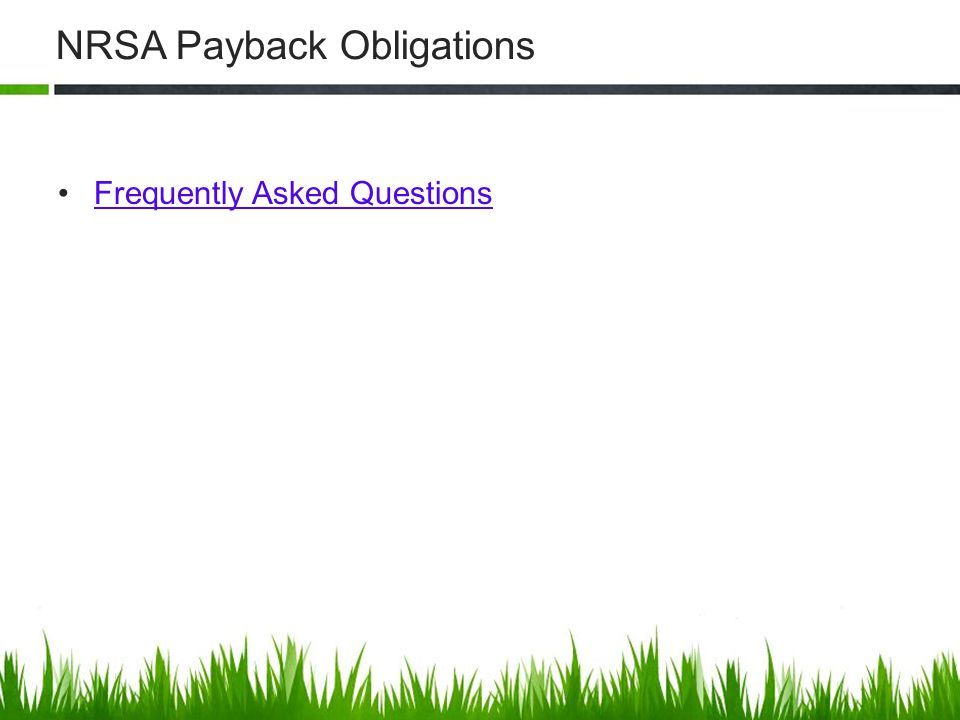 NRSA Payback Obligations