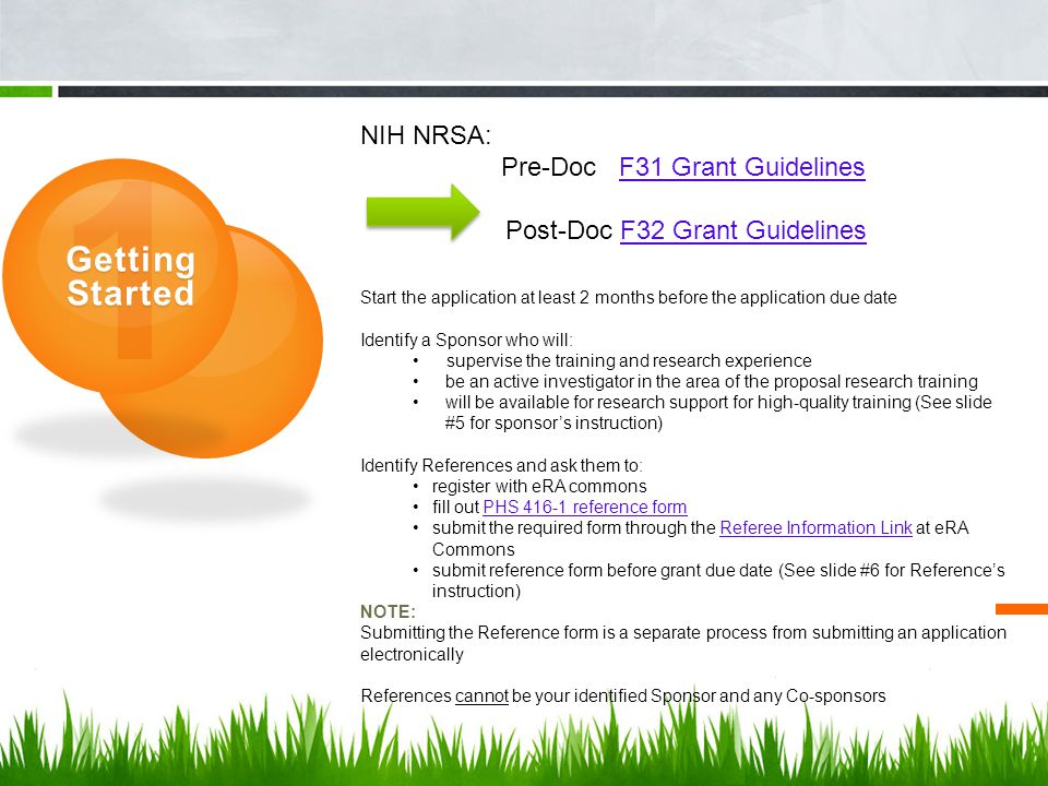 Post-Doc F32 Grant Guidelines