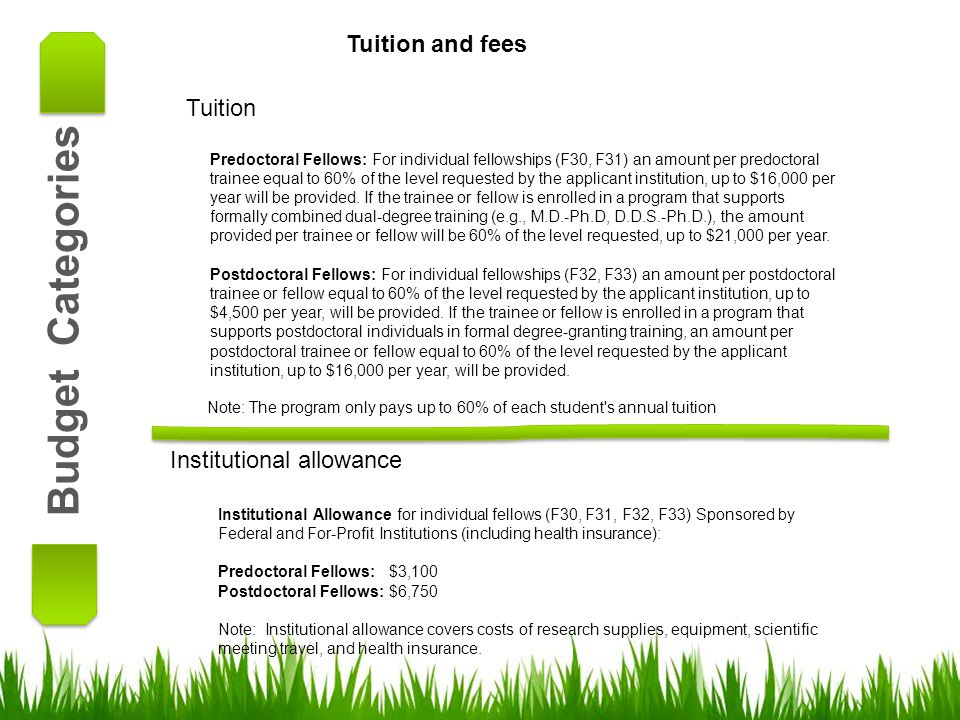 Budget Categories Tuition and fees Tuition Institutional allowance