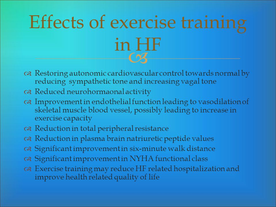 Effects of exercise training in HF