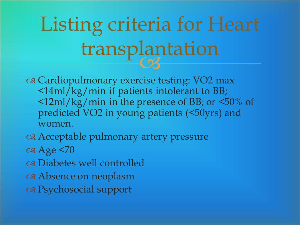 Listing criteria for Heart transplantation