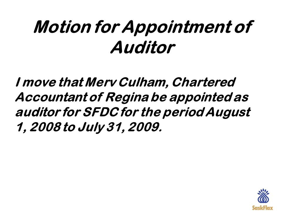 Motion for Appointment of Auditor