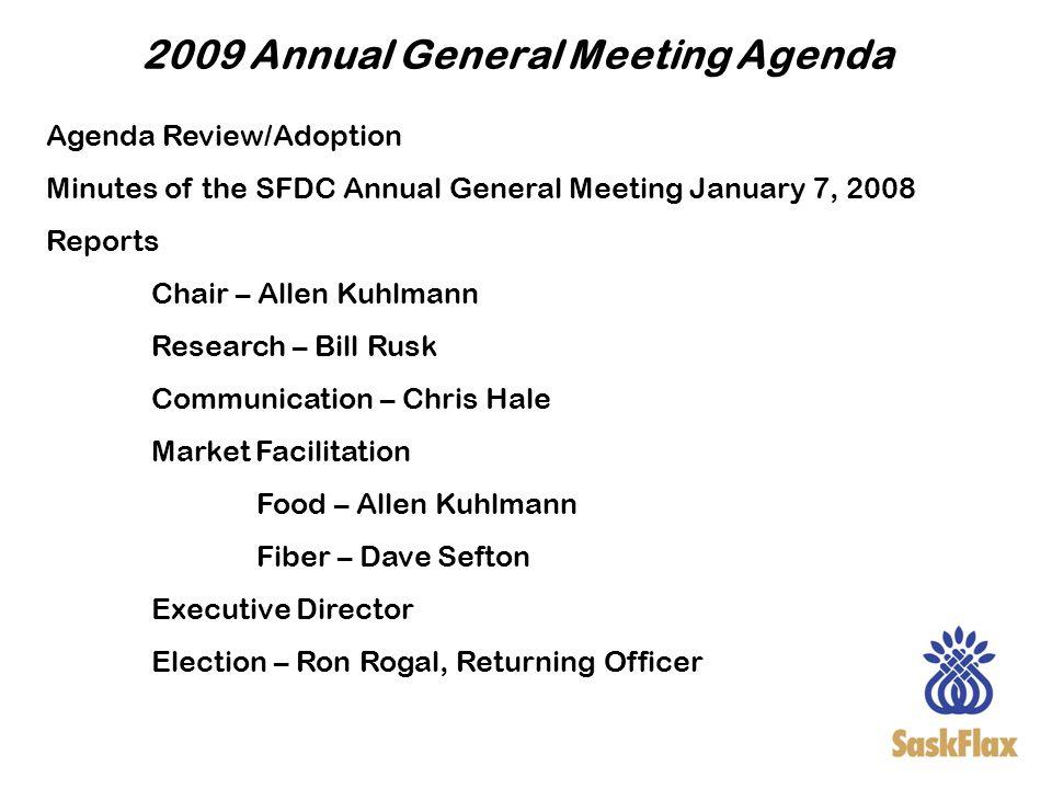 2009 Annual General Meeting Agenda