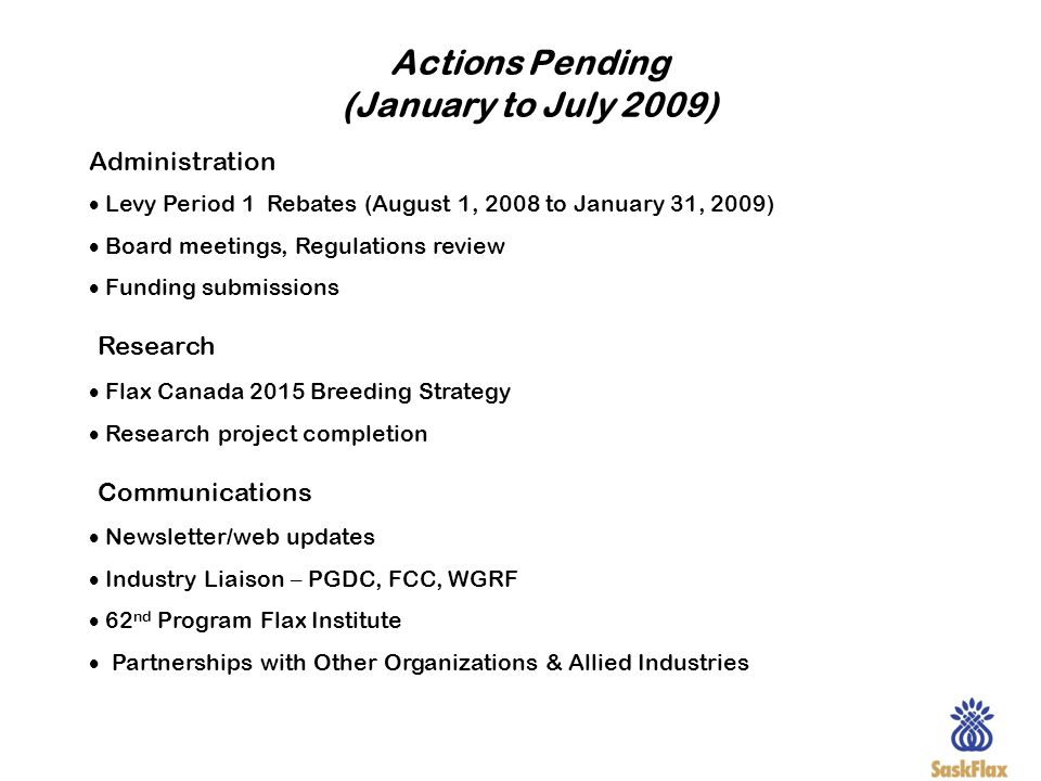 Actions Pending (January to July 2009)