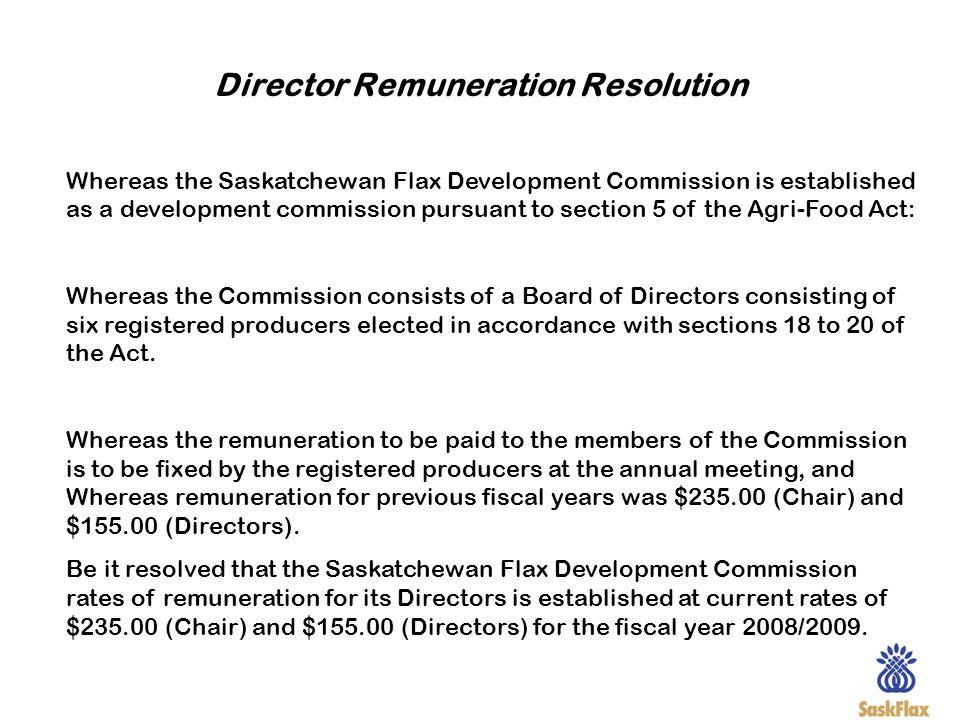 Director Remuneration Resolution