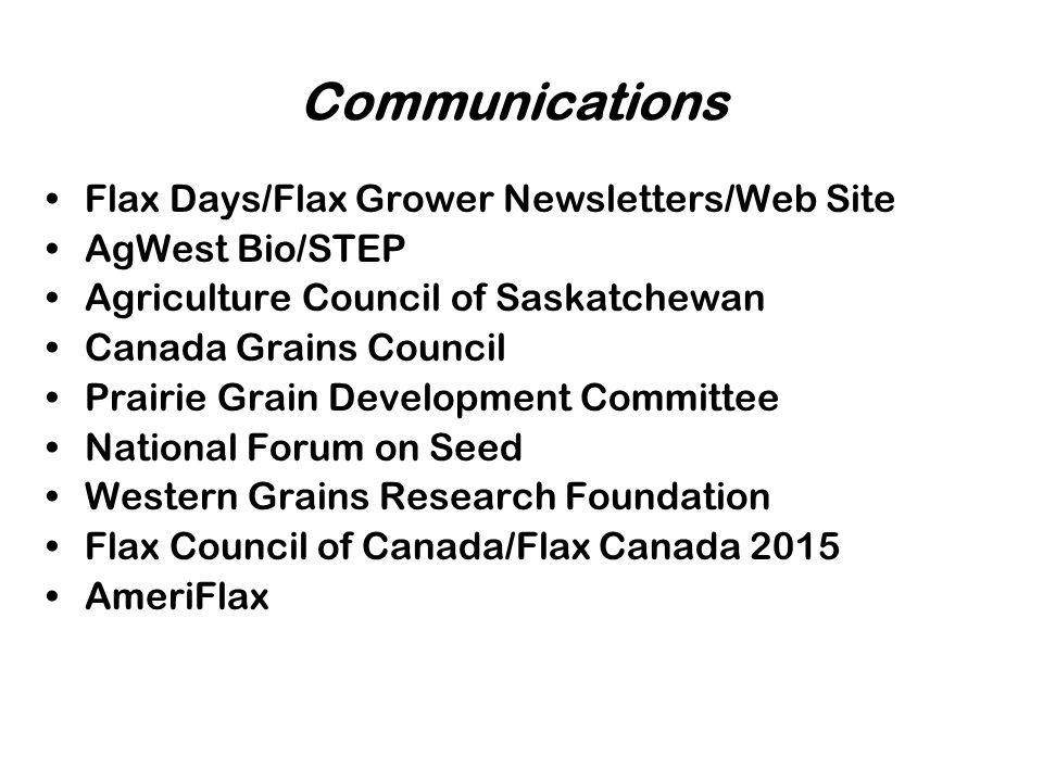 Communications Flax Days/Flax Grower Newsletters/Web Site