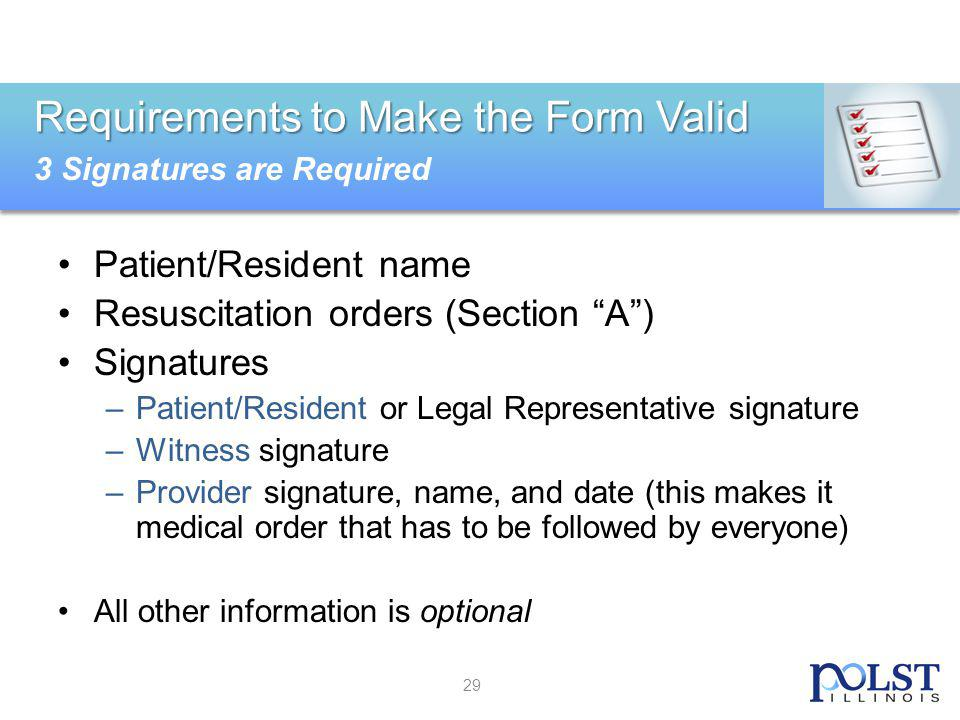 Requirements to Make the Form Valid